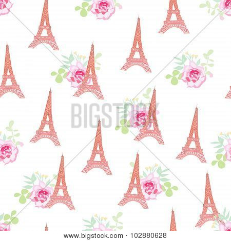 Cute Eiffel Towers Floral Seamless Vector Pattern