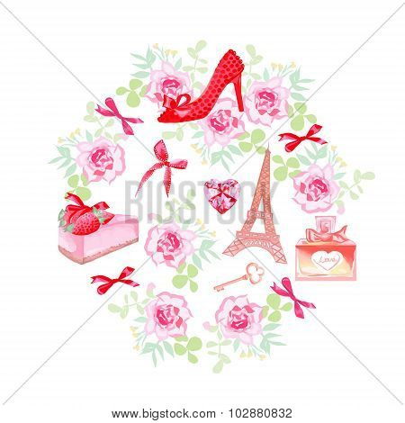 Romantic Paris Vector Design Set
