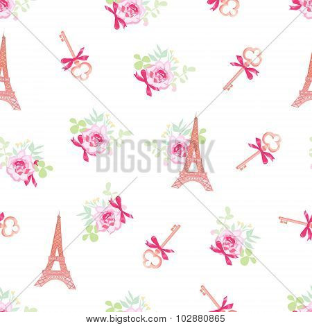 Cute Eiffel Towers And Keys Floral Seamless Vector Pattern