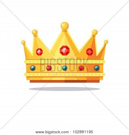 Shiny gold crown encrusted with gems