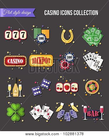 Set of colorful modern gambling icons, casino icons, money icons with long shadow for infographics,