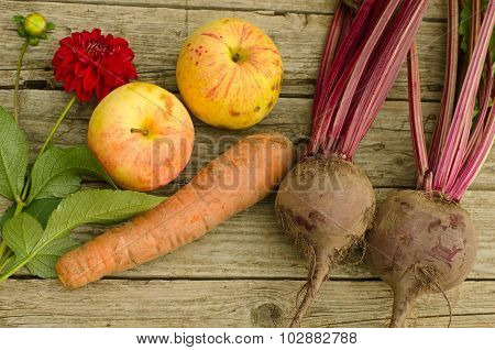 Apples, Beet, Flower Dahlias