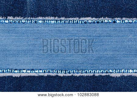 Fashionable Background, Jeans And Blue  Rhinestones