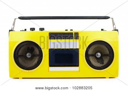 Retro Yellow Ghetto Blaster Isolated