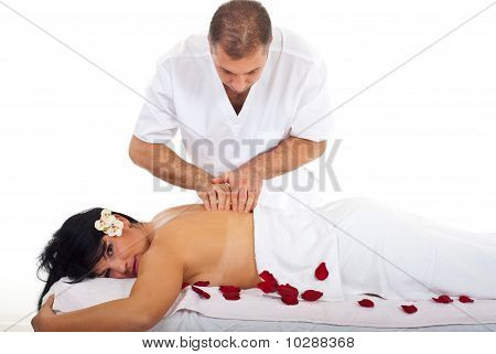 Professioanl Masseur Giving Woman Massage