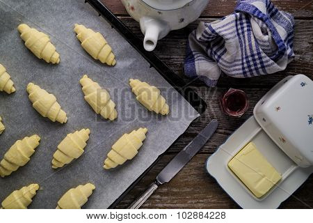 Ready To Bake Puff Pastry Butter Croissants In Rustic Setting