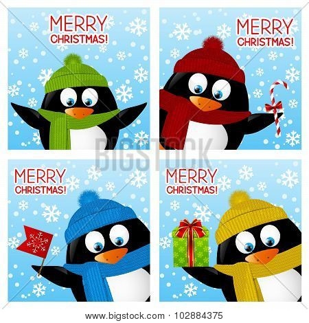Set of Christmas greeting cards with penguins