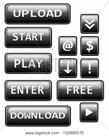 Black buttons: upload, start, play, enter, download, free, dollar, mail