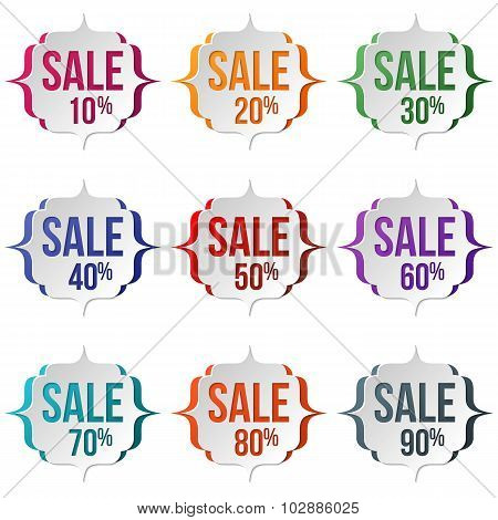 Set Of Sale Labels On A White Background. Sale, Discount Theme.