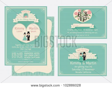 Wedding Invitation Design With The Gate Of Love And The Walls.