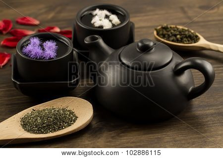 Black Teapot, Two Cups, Tea Collection, Flowers. Menu, Recipe
