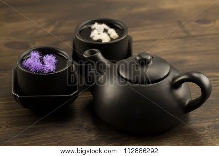Black Teapot, Two Cups, Flowers. Menu, Recipe