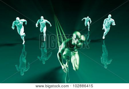 Business Success Concept with Running Men