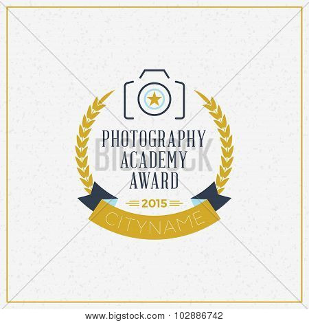 Photography Logo Design Template. Retro Vector Badge. Photography Academy