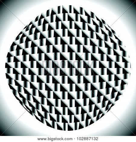 Checkered Sphere With Gradient Fills On Squares.