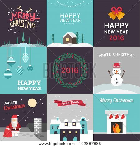 Set Of Vector Flat Design Christmas And New Year Postcards. Vector Illustration