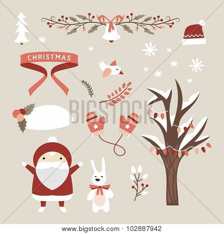 Set Of Christmas And New Year Cute Vector Design Elements With Cartoon Characters