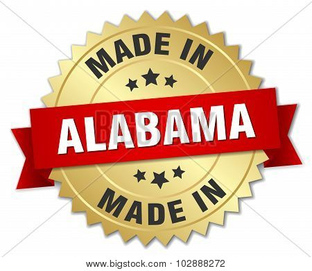 Made In Alabama Gold Badge With Red Ribbon