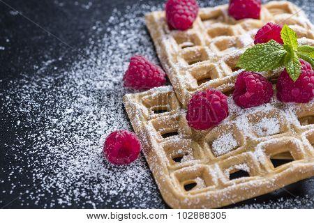 Fresh Made Waffles With Raspberries