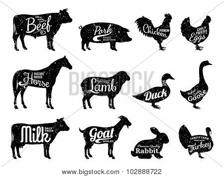 Farm Animals Silhouettes Collection, Butchery Labels Templates