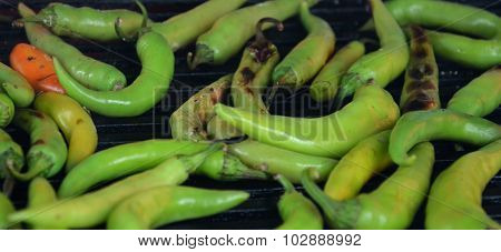 Green Paprika On A Grill