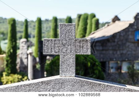Stone Corss In Catalan Cemetery, Cardedeu, Catalonia.