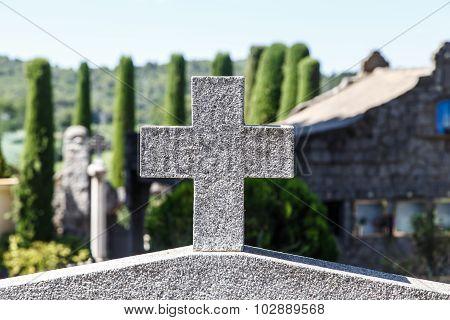 Stone Corss In Catalan Cemetery, Cardedeu, Catalonia.