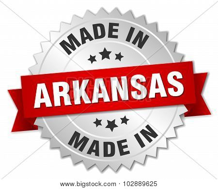 Made In Arkansas Silver Badge With Red Ribbon