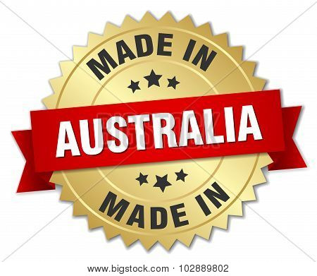 Made In Australia Gold Badge With Red Ribbon