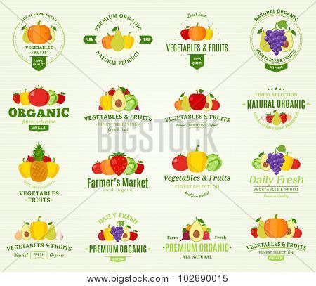 Fruits And Vegetables Labels And Design Elements