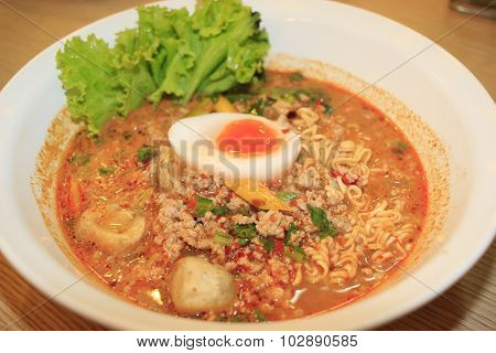 Noodles With Hot Sour Soup And Minced Pork With Egg, Thai Style