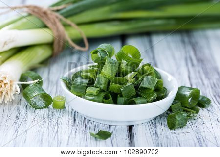 Bowl With Sliced Scallions