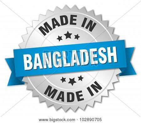 Made In Bangladesh Silver Badge With Blue Ribbon