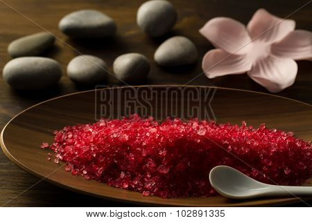Beautiful Spa Composition On Wooden Background. Treatment, Aromatherapy