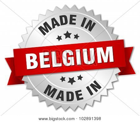 Made In Belgium Silver Badge With Red Ribbon