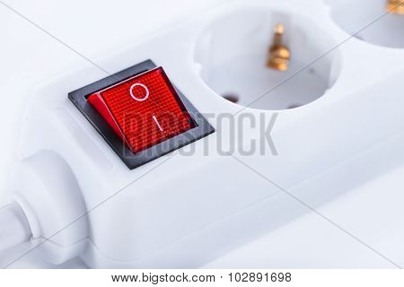 Outlet Strip (close-up Shot) On White Background