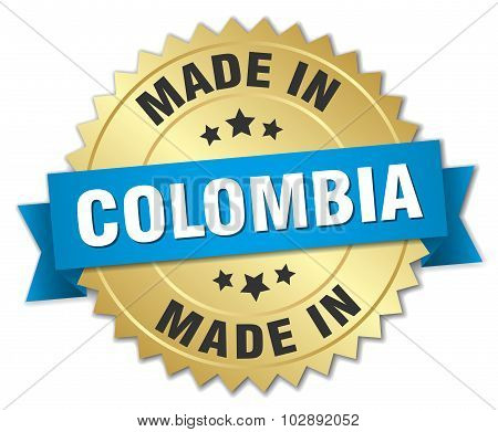 Made In Colombia Gold Badge With Blue Ribbon