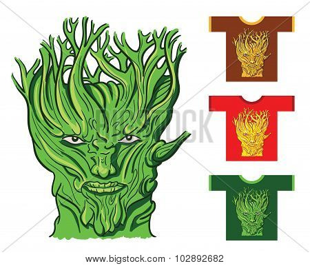 Serious Face Of The Tree. Vector Illustration.