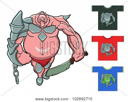 Fantastic Warrior. Vector Illustration. Drawing For T-shirts.