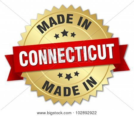 Made In Connecticut Gold Badge With Red Ribbon