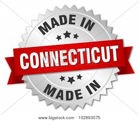 Made In Connecticut Silver Badge With Red Ribbon