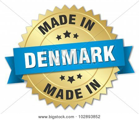 Made In Denmark Gold Badge With Blue Ribbon
