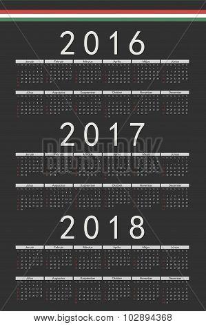 Set Of Black Rectangle Hungarian 2016, 2017, 2018 Year Vector Calendars