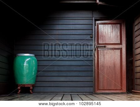 Dark Light Conner Space Of Wood House Background.