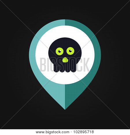 halloween skull mapping pin icon