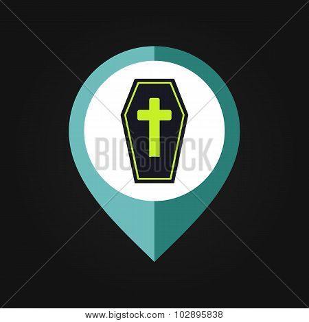 Halloween Coffin mapping pin icon
