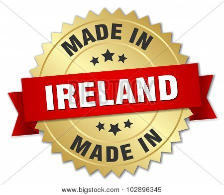 Made In Ireland Gold Badge With Red Ribbon