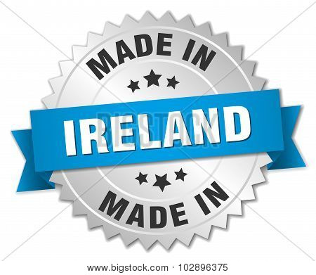 Made In Ireland Silver Badge With Blue Ribbon
