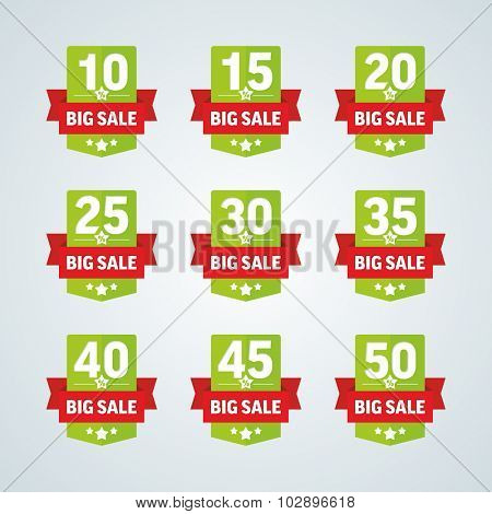 Big sale 10-50 percent green badge with red ribbon. Vector illustration.