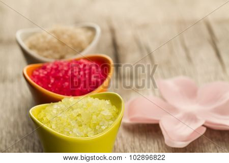 Colorful Sea Bath Salts On Wooden Background. Spa, Aromatherapy.